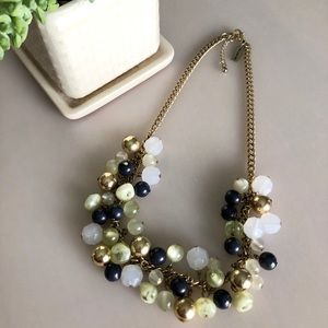 Gold, Green and Navy Statement Necklace